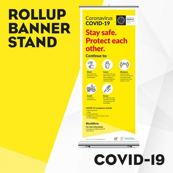 Covid Rollup Banner Stand